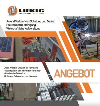 Lukic Schalungstechnik Firmenbroschüre inkl. Preisliste